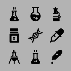 Icons Chemistry with dna, hot flask, dropper, chemicals and flask