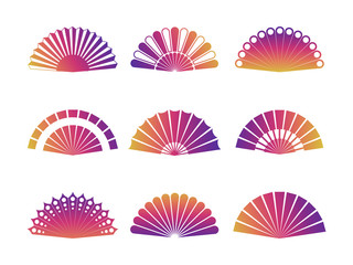 Hand fan isolated on white background. Vector fan icons set
