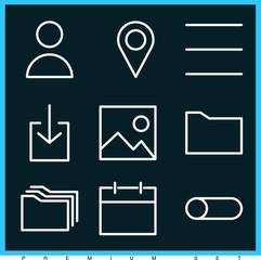 Set of 9 template outline icons