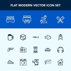 Modern, simple vector icon set with oar, radio, timer, antenna, package, sea, boat, water, handgun, bed, paddle, mug, packaging, revolver, strike, time, hour, nurse, box, wireless, product, food icons