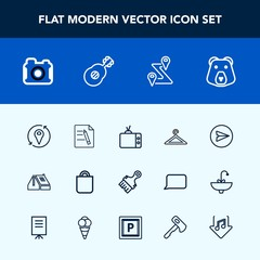 Modern, simple vector icon set with bag, clothing, message, wild, route, paint, location, video, document, photography, brush, paintbrush, camera, house, web, internet, business, email, office icons