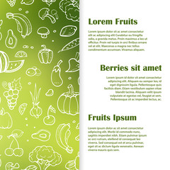 Doodle fruits, berries, vegeables banner template