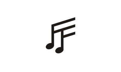 Initial FF Music Notes logo design inspiration