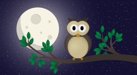 Cute owl illustration vector. The owl sits on a branch.Night