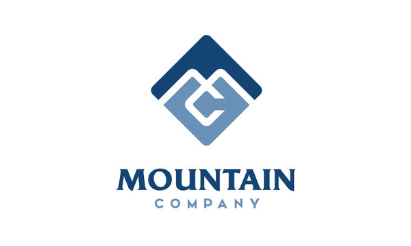 Monogram Initials MC CM Mountain Company Square logo design