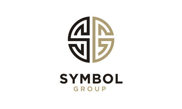 Monogram Initial SG Circular Medal Ornament logo design inspiration