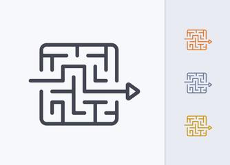 Arrow Through Maze - Pastel Stroke Icons . A professional, pixel-perfect icon.