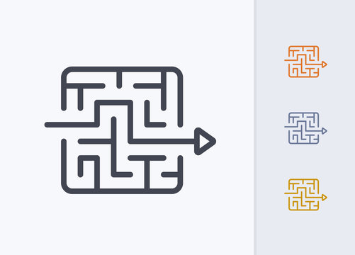 Arrow Through Maze - Pastel Stroke Icons . A professional, pixel-perfect icon.