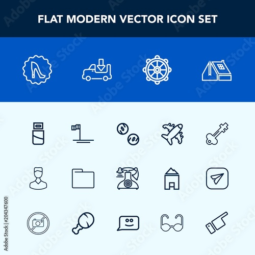 Modern Simple Vector Icon Set With Key Window Cable Frame