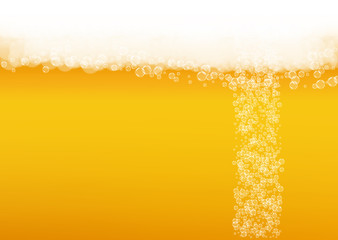 Beer bubbles background with realistic white foam.  Cool liquid drink for pub and bar menu design, banners and flyers.  Yellow horizontal beer bubbles backdrop. Cold pint of golden lager or ale.