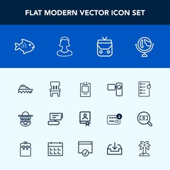 Modern, simple vector icon set with chair, estate, cartoon, interior, sea, fashion, contract, white, home, style, document, character, tripod, transport, house, food, badge, video, view, global icons