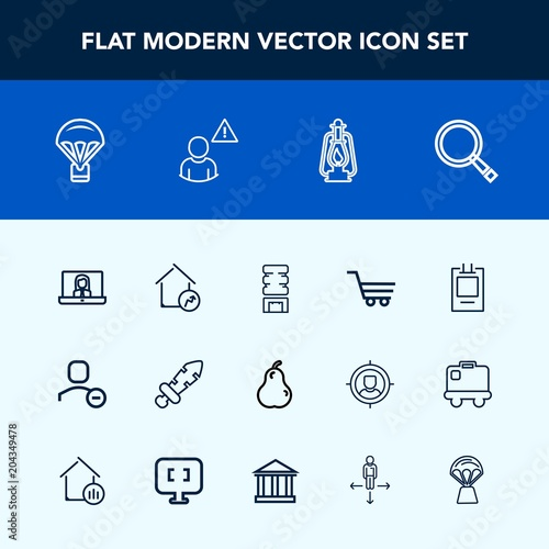 Modern, simple vector icon set with cooler, fruit, house
