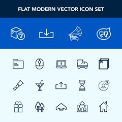 Modern, simple vector icon set with blank, bubble, house, leisure, click, music, glass, download, folder, beautiful, web, package, speech, mouse, cocktail, night, gramophone, device, chat, file icons