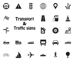 Transport and Traffic signs icon. Transport vector icon set.