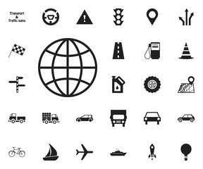Worlwide net icon. Transport vector icon set.