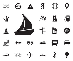 Yacht, boat icon. Transport vector icon set.