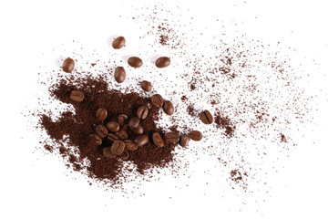 Pile of powdered, instant coffee and beans isolated on white background, top view