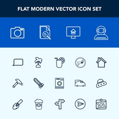 Modern, simple vector icon set with sign, cigarette, equipment, house, machine, shovel, talk, fire, estate, telephone, danger, lens, explosion, astronaut, no, space, nature, appliance, photo icons