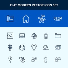 Modern, simple vector icon set with cute, landmark, business, packaging, compass, lighthouse, box, fashion, storage, travel, phone, stationary, luxury, east, party, seamark, hotel, paris, model icons