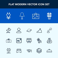 Modern, simple vector icon set with business, search, purse, id, light, interior, planet, personal, sky, swimsuit, woman, bikini, travel, male, wallet, lamp, dollar, beacon, money, watch, spy icons