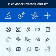 Modern, simple vector icon set with spotlight, box, light, business, guitar, dollar, music, delivery, planet, rocket, france, tower, pin, road, cash, investment, photo, mountain, no, package icons