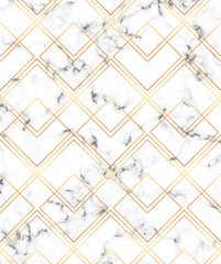 Modern minimalist white marble texture with gold geometric lines pattern. Background for banner, card, flyer, invitation, party, birthday, wedding, placard, magazine