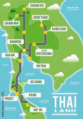 Cartoon vector map of Thailand. Travel illustration with thai main ...