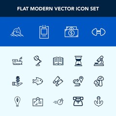 Modern, simple vector icon set with train, white, laboratory, sport, money, hourglass, sand, spy, book, food, electricity, transport, interior, fitness, hour, transportation, education, growth icons