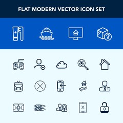Modern, simple vector icon set with boat, user, technology, box, close, water, health, fashion, package, house, sign, cloud, internet, yacht, delete, find, web, transfer, button, object, sea icons