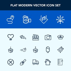 Modern, simple vector icon set with hat, captain, package, web, internet, display, research, screen, medicine, office, white, love, night, man, late, sailor, communication, music, equipment, cap icons