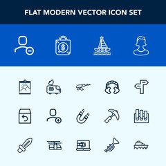 Modern, simple vector icon set with tv, arrow, sea, avatar, blank, web, music, photo, boat, box, account, shipping, science, ocean, magnetic, bag, weapon, profile, yacht, user, gun, military icons