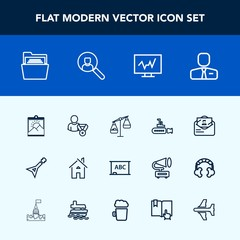 Modern, simple vector icon set with picture, white, ocean, weight, post, undersea, sign, online, house, blackboard, paper, employee, musical, balance, music, background, frame, photo, office icons
