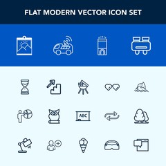 Modern, simple vector icon set with hourglass, sunglasses, people, room, search, upstairs, hour, meeting, background, blank, wildlife, clock, sand, down, picture, frame, owl, sun, vision, board icons