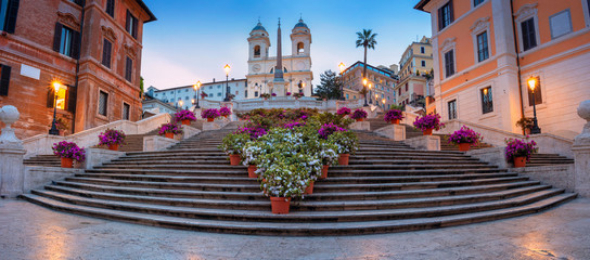 Stores à enrouleur Rome Rome. Panoramic cityscape image of Spanish Steps in Rome, Italy during sunrise.