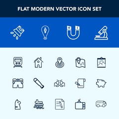 Modern, simple vector icon set with fashion, sport, radius, video, location, white, wear, point, microscope, template, holiday, projection, field, science, festival, photo, carnival, wood, bat icons