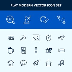 Modern, simple vector icon set with blue, web, night, technology, landscape, point, photo, personal, construction, suit, shovel, male, device, destination, transportation, map, moon, position icons