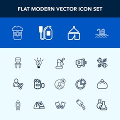 Modern, simple vector icon set with summer, film, cup, drink, travel, concept, mug, chair, camp, loudspeaker, online, room, business, speaker, loud, space, cafe, finance, nature, technology icons