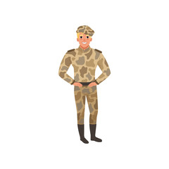 Handsome man in camouflage uniform. Commander of infantry.Young guy in military clothes. Flat vector design