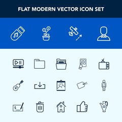 Modern, simple vector icon set with tv, music, device, decoration, flight, photo, guitar, picture, modern, growth, aircraft, tree, profile, sound, player, musical, travel, sign, screen, jug, web icons