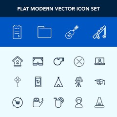 Modern, simple vector icon set with fishing, white, sign, sport, tent, fan, shorts, video, bird, house, finance, wooden, ventilator, referee, travel, call, internet, guitar, mobile, close, wear icons