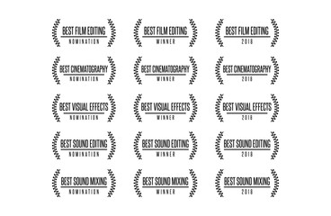 Movie award technical nomination winner best cinematography visual effects sound editing vector logo icon set
