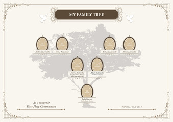 Vector Family Tree, Parents with childrens ANG. Stylish illustration AI / EPS