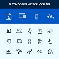 Modern, simple vector icon set with relocation, shiny, photo, tourism, housework, star, package, cardboard, award, london, place, market, computer, blank, list, achievement, chair, protection icons