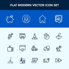 Modern, simple vector icon set with space, launch, house, bathroom, security, water, suitcase, safe, finance, vision, tv, bag, thermometer, technology, glasses, faucet, spy, safety, temperature icons
