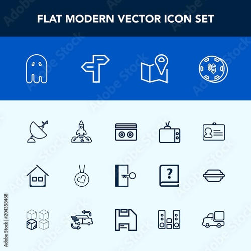 Modern, simple vector icon set with map, technology, tv