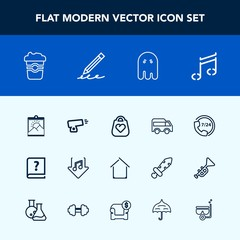 Modern, simple vector icon set with cafe, highway, fashion, drink, coffee, move, paper, note, photo, bag, internet, picture, ghost, war, horror, left, help, frame, service, old, call, book, cup icons