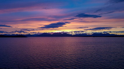 Colorful sunset over a lake in Alaska
