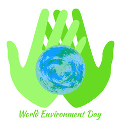 World Environment Day. Hands holding a Earth.