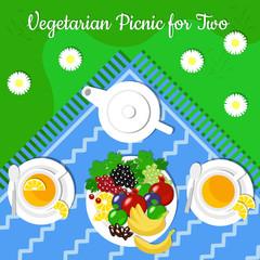 Vegetarian picnic for two, fruits, set for tea