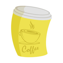 Raster illustration of yellow curve coffee cup on a takeaway with short inscription , a picture on a white background